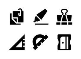 ensemble simple d'icônes solides vectorielles liées à la papeterie vecteur