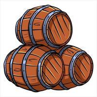 barils de vin ou de bière vecteur
