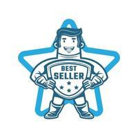 personnage de logo mascotte best-seller vecteur