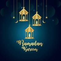illustration vectorielle ramadan kareem et fond avec lanterne dorée vecteur