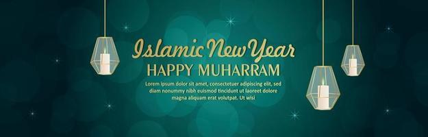 illustration vectorielle de joyeux nouvel an islamique muharram vecteur