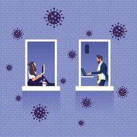 travailler à domicile dans le concept d'épidémie de virus covid 19 vecteur
