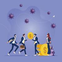 La crise financière de l'épidémie de coronavirus covid 19 aide le concept de politique vecteur