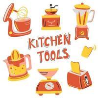 ensemble d'appareils de cuisine dessinés à la main. équipement d'illustration vectorielle, article pour la cuisine. machine à café, mixeur, hotte, balance, mixeur, grille-pain, presse-agrumes. vecteur