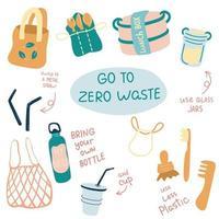 jeu d'illustrations vectorielles zéro déchet. articles ou produits durables et réutilisables - bocaux en verre, sacs d'épicerie écologiques, brosse à dents en bambou, tasse réutilisable, boîte à lunch. vecteur