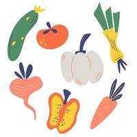 collection de légumes dessinés à la main. paquet de délicieux produits végétariens diététiques végétaliens frais, des aliments sains et sains, des ingrédients de cuisine. vecteur