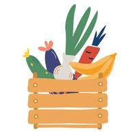 boîte en bois avec légumes et fruits. marché des fermiers. vecteur