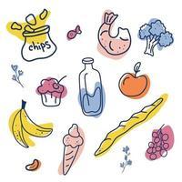 illustration vectorielle de nourriture dessinés à la main. aliments naturels et biologiques isolés sur blanc. chips, lait, crème glacée, gâteau, bananes, crevettes, baguette, brocoli et pomme vecteur