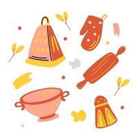 ensembles colorés d'ustensiles de cuisine silhouette. passoire, râpe, rouleau à pâtisserie, salière, mitaine, manique. vecteur