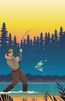 loisirs d'été de pêche vecteur