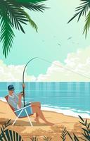 pêcheur pêchant à la plage vecteur