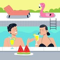 un couple profite de l'été dans une piscine vecteur