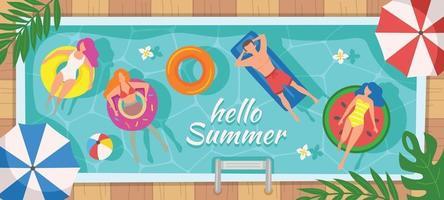 fête d'été à la piscine vecteur