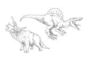 Dinosaure de dessin à la main vecteur