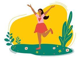 jolie fille sautant dans la prairie de printemps. vecteur