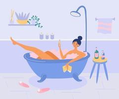fille se trouve dans la salle de bain avec des bulles de mousse. Dame boit du vin, lit un livre et se détend. l'heure du bain, spa à domicile. vecteur