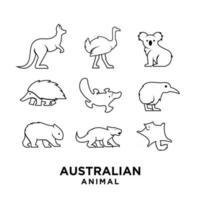ensemble, collection, australien, animal, noir, logo, icône, illustration, conception vecteur
