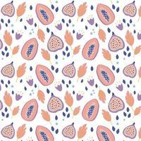 motif tropical d'été avec papaye et figues. conception de fruits texturés. vecteur