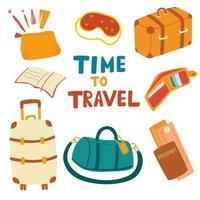 ensemble d'articles de voyage. Essentiels de voyage en avion, valise, sac de voyage, masque de sommeil, passeport, livre, portefeuille, trousse à cosmétiques. vecteur