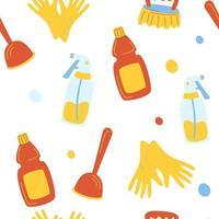modèle sans couture de service de nettoyage. motif de dessin animé drôle d'outils de nettoyage. fournitures de nettoyage ménager écologiques. produits pour le lavage de la maison. vecteur