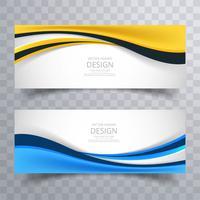 Élégantes bannières lumineuses colorées créatives définies vecteur