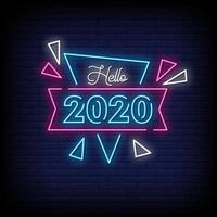 bonjour 2020 vecteur de texte de style enseignes au néon
