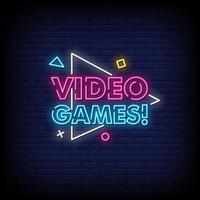 vecteur de texte de style néon de jeux vidéo
