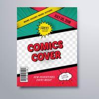 Arrière-plan du modèle de couverture de magazine de bandes dessinées vecteur