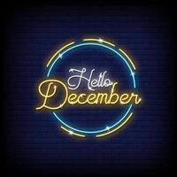 bonjour décembre vecteur de texte de style enseignes au néon