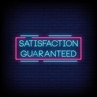 satisfaction garantie vecteur de texte de style enseignes au néon