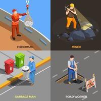 illustration vectorielle de professions urbaines design concept vecteur