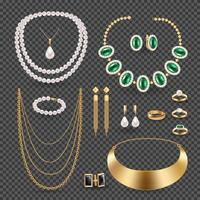 accessoires de bijoux ensemble transparent illustration vectorielle vecteur