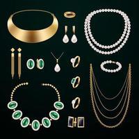 accessoires de bijoux mis en illustration vectorielle vecteur