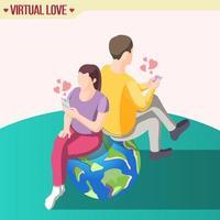 amour à travers les continents illustration vectorielle de composition isométrique vecteur