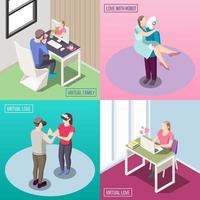 illustration vectorielle de concept de conception isométrique amour virtuel vecteur