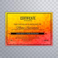Arrière-plan du modèle de certificat coloré abstrait vecteur