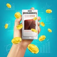 illustration vectorielle de fond de portefeuille bancaire mobile vecteur