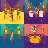 icônes de concept de carnaval brésilien mis illustration vectorielle vecteur