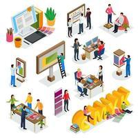 agence de publicité icônes isométriques vector illustration