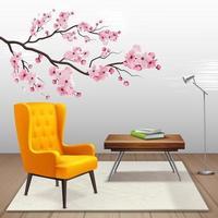 illustration vectorielle de sakura composition intérieure vecteur