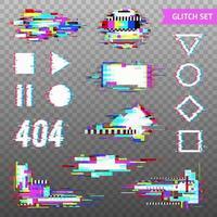 éléments numériques en illustration vectorielle de style glitch déformé vecteur
