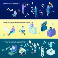 illustration vectorielle de réalité virtuelle bannières horizontales isométriques vecteur