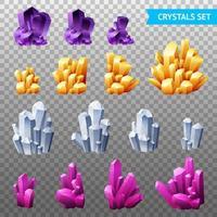 cristaux réalistes mis illustration vectorielle vecteur