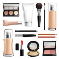 maquillage cosmétiques ensemble réaliste illustration vectorielle vecteur