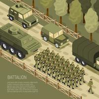 illustration vectorielle de campagne militaire isométrique fond vecteur