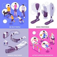 illustration vectorielle de prothèse bionique concept isométrique vecteur