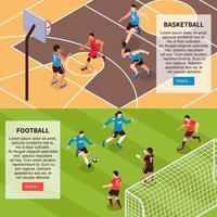 illustration vectorielle de jeux de terrain de sport bannières isométriques vecteur