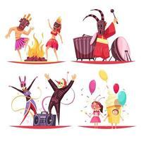 illustration vectorielle de carnaval 2x2 design concept vecteur