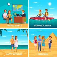 agence de voyage 2x2 design concept illustration vectorielle vecteur