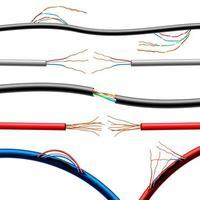 câbles électriques endommagés réalistes mis en illustration vectorielle vecteur